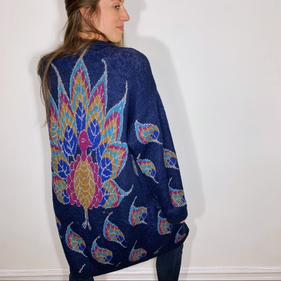 cecc84b6b60f Vintage • knit peacock oversized cardigan sweater.  M 5becd14baaa5b87304239d7c